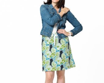 Clearance Skirt ~ Blue Paisley Skirt ~ A-line Skirt ~ Lined Aline Skirt ~ 100% Cotton ~ Sizes : X-Small (Xsmall, xs)