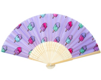 Popsicle hand fan