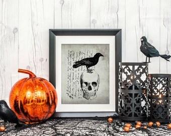 Halloween Decor - Halloween Decorations - Black and White Halloween - Halloween Art - Skull Print - Instant Download - 3 PRINTABLE 8x10