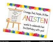 Paint Art Party Invitation Birthday - DIGITAL or PRINTED