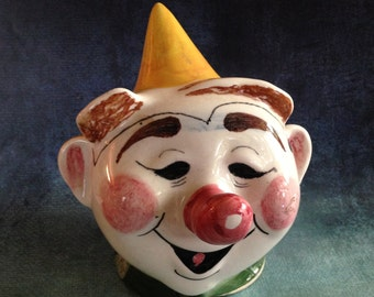 Vintage ceramic clown head coin bank made in Italy