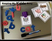 MAGNETIC Spelling Tray - Laminated CVC cards - Montessori lowercase letter magnetics