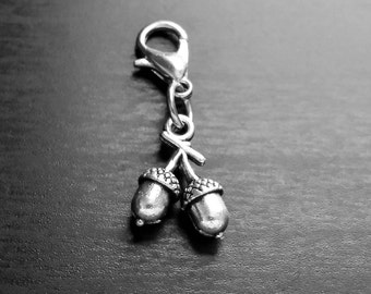 Acorn Dangle Charm for Floating Lockets, Necklaces, Bracelets, or Zipper Pulls-Antique Silver-Gift Idea