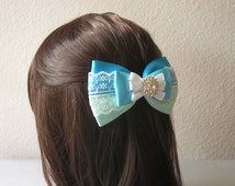 Fancy Satin and Lace Bow with Rhinestone, Large Girls Hair Accessory, Barrette, Headband, Frozen, Princess Inspired, Blue, Aqua, Turquoise