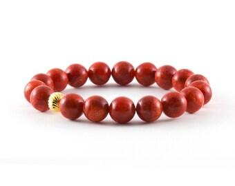 Gold Coral Bracelet/ Red Coral Bracelet/ Coral Beaded Bracelet/ Coral Gemstone Bracelet/ Red Stretch Bracelet