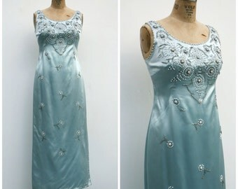 1960s | Ice Blue Liquid Satin Gown with Beaded Embroidery | Size M