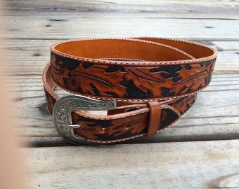 custom leather belt western tooled with name