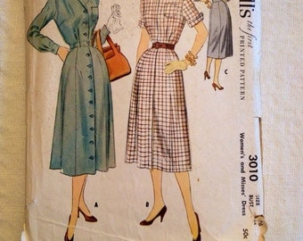 1954 McCall's pattern # 3010 Misses size 16 Dress