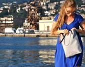 Women lunch bag, zero waste every day carry, canvas and leather handbag, Gray tote bag, Labor Day Sale
