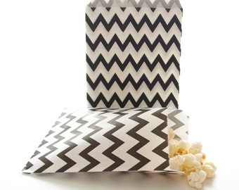 Black Gift Bags, Candy Buffet Bags, Small Party Favor Bags, Black Goody Bags, 25 Pack - Black Chevron Paper Bags
