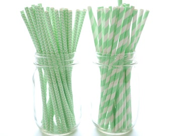 Mint Green Paper Drinking Straws, Mint Green Straws, Mason Jar Straws, Vintage Paper Straws, 50 Pack - Mint Green Chevron & Stripe Straws