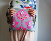 PATTERNED, NEON PINK clutch purse. Handmade in soft, grey sweatshirt jersey, with a bold neon pink print and embellishments.