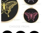 Butterfly embroidery, DIY kit, butterfly pattern, embroidery hoop art, modern hand embroidery kit, DIY butterfly, girls room decor DIY