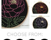 Peony embroidery kit, flower embroidery pattern, modern hand embroidery kit, floral needlecraft, DIY embroidery hoop art, peony pattern