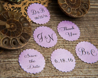 25 Lilac Purple Save the Date Envelope seals, wedding stickers invitations. Printed Scalloped Round wedding Favour stickers. Lavender seals.