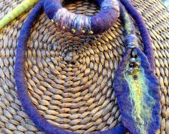 Necklace of Merino Wool// Bracelet of wool//  Multicolor//