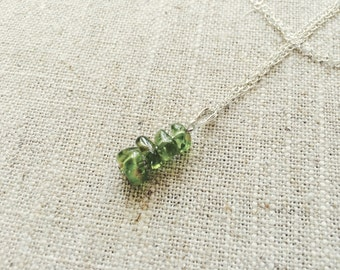 Intense Green Peridot Pendant Necklace on Sterling Silver Chain - August Birthstone