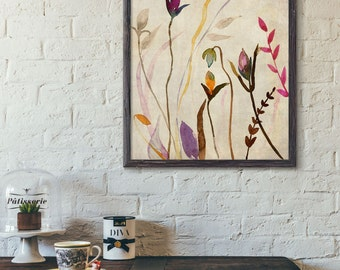 Flowers  watercolor art print,Art print,home decor ,Wall Art Print,bedroom decor No491