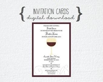 Wine Theme Bridal Shower Invitation Invite Cards