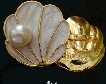 Shell Brooch, Enamel, The Tahitian, Pearl White Vintage Inspired Brooch
