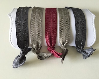 Set of 5 Hair Ties, for All Ages, elastic knotted hair ties, wont damage hair, crease, or slip! The fall collection