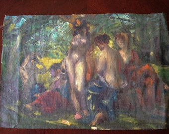 Early 20th C. impressionist painting of Bathers