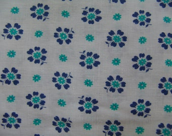 50s Feedsack Cutter Fabric Blue Flowers Cotton Floral