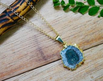 Amethyst Pendant, 18K Stalactite Chain Necklace, Raw Gemstone Jewelry, Amethyst Necklace, Gemstone Necklace, Stalactite Pendant, Slice Charm