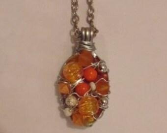 Orange Tone Beaded Upcycled Spoon Necklace