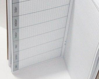 Wo1P + Grid Notes Planner {Pocket Size} Printable // Monday Start