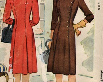 "Vintage 1940s McCall Sewing Pattern 5438- Misses' Dress size 16 bust 34"" uncut"