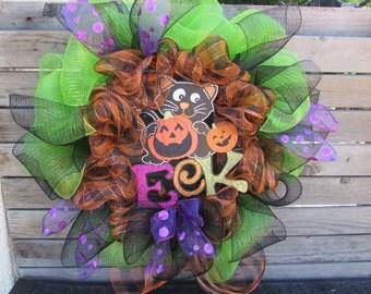 "24"" Halloween Wreath Halloween Deco Mesh Wreath Eek Wreath Black Cat Wreath Jack O Lantern Wreath Pumpkin Wreath Halloween Door Decor"