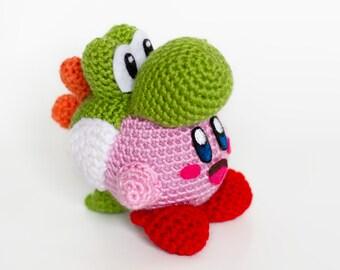 Crochet Yoshi Kirby Amigurumi - Kirby's Epic Yarn and Yoshi's Woolly World mix, Smash Bros **Made to Order**