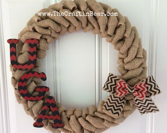 University of Georgia burlap wreath w/ chevron UGA letters and chevron double bow - UGA - Georgia bulldogs- Dawgs