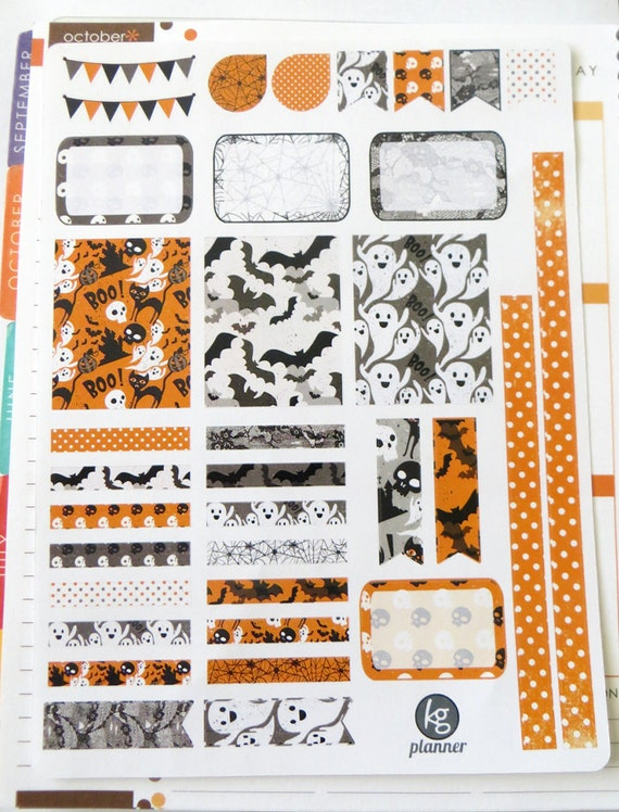 old halloween decorating kit weekly spread planner stickers for erin condren planner filofax plum paper