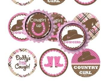 """Cowgirl Pink 1"""" Circle Bottlecap Image Sheet Digital File 12 images 4x6 300dpi JPEG file Girl YOU PRINT"""
