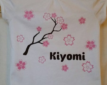 Personalized Girl's Shirt - Cherry Blossom/Flowers/Asian/Toddler