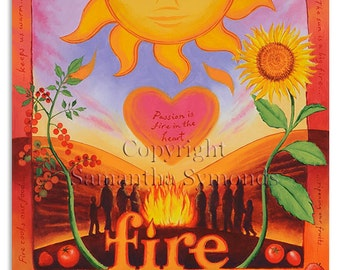 Element of Fire Card, Acrylic on canvas, digitally printed