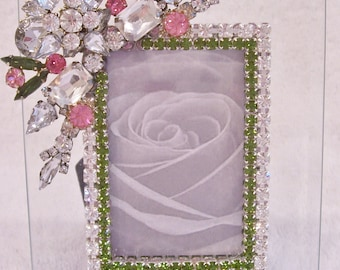 Jeweleded Picture Frame. Perfect Wedding, Bridesmaid, Anniversary, Birthday, Holiday Gift.