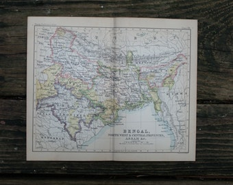 1888 - Bengal Map - Antique 1800s Map - Old Map of Bengal - Small Authentic Original Map - Atlas of the World