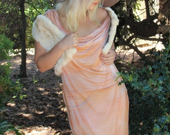 Bamboo cowl dress gold from Simmer Clothing great for beach and travel! Bohemian style summer dress