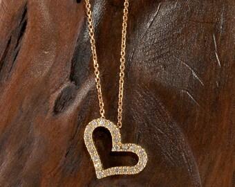 Modern Slanted Heart Diamond Pendant in 14K Yellow Gold DS643Y