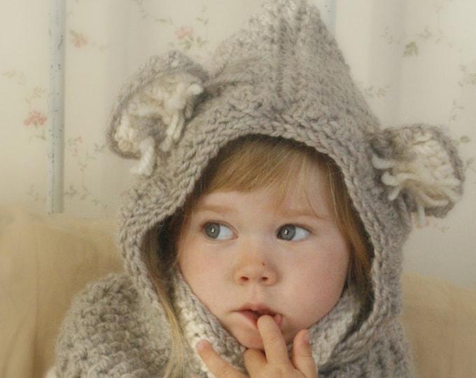 CROCHET PATTERN hooded cowl Koala bear with inner cowl (toddler/child/adult sizes)