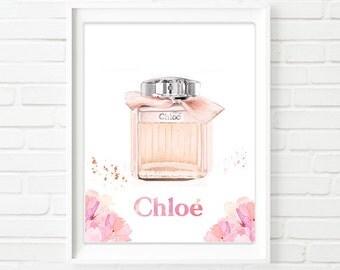 """Watercolour Chloe perfume art. """"Chloe Eau de Parfum."""" Modern high fashion wall art. Beautiful Home Décor."""