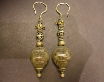 Very old museum quality silver earrings from Afghanistan, 120 mm or 5 inches long, 2.77 oz.