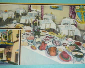 Unused Vintage Linen Postcard Bit of Sweden Restaurant in Hollywood, California