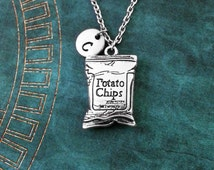 Potato Chips Necklace Bag of Potato Chips Jewelry Potato Chips Bag Crisps Necklace Chips Pendant Chips Charm Junk Food Jewelry Food Necklace