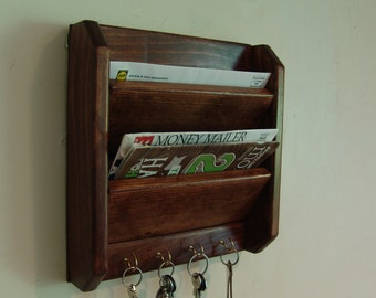 11.5h x12w Mail Key Organizer, Handcrafted Wooden Wall, Letter Holder Storage Rack, Hooks, Eng. Chestnut or 20 colors, other models in store