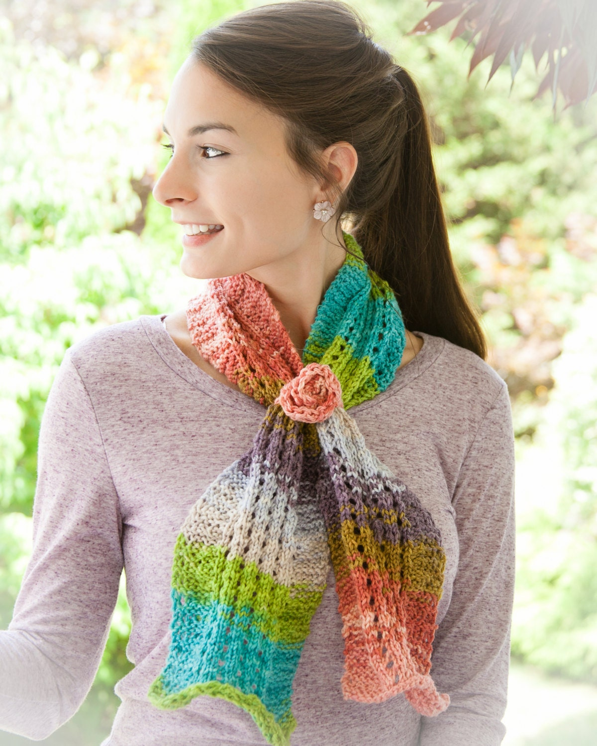 Loom Knit Scarf PATTERN. Painted Ripples Scarf PATTERN with