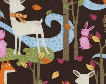 Woodland Animal Fabric, Fawn Fabric, Timeless Treasures Fun C3774, Baby Girl Quilt Fabric, Deer, Bunny, Fox, Chipmunk, Nursery Decor, Cotton